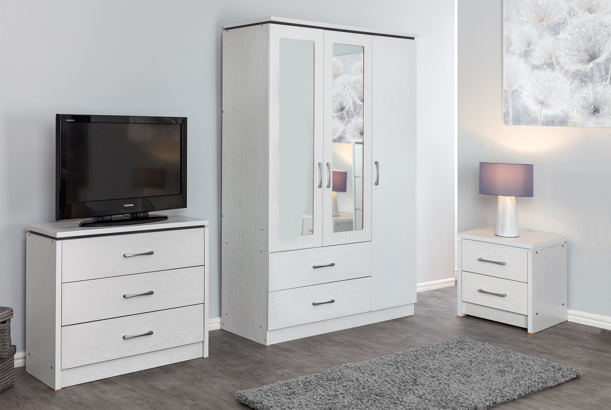 Details about White Ash Effect Large Modern Bedroom Furniture Units & Sets  FREE DELIVERY